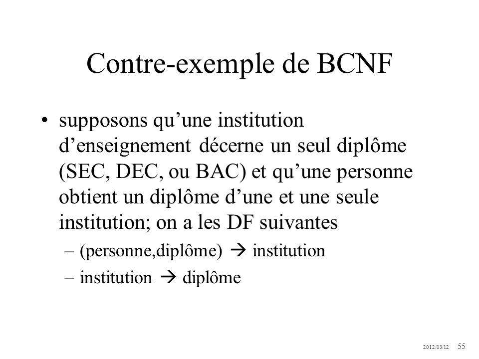 2012/03/12 55 Contre-exemple de BCNF supposons quune institution denseignement décerne un seul diplôme (SEC, DEC, ou BAC) et quune personne obtient un