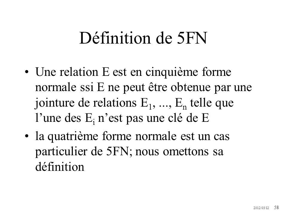 2012/03/12 58 Définition de 5FN Une relation E est en cinquième forme normale ssi E ne peut être obtenue par une jointure de relations E 1,..., E n te