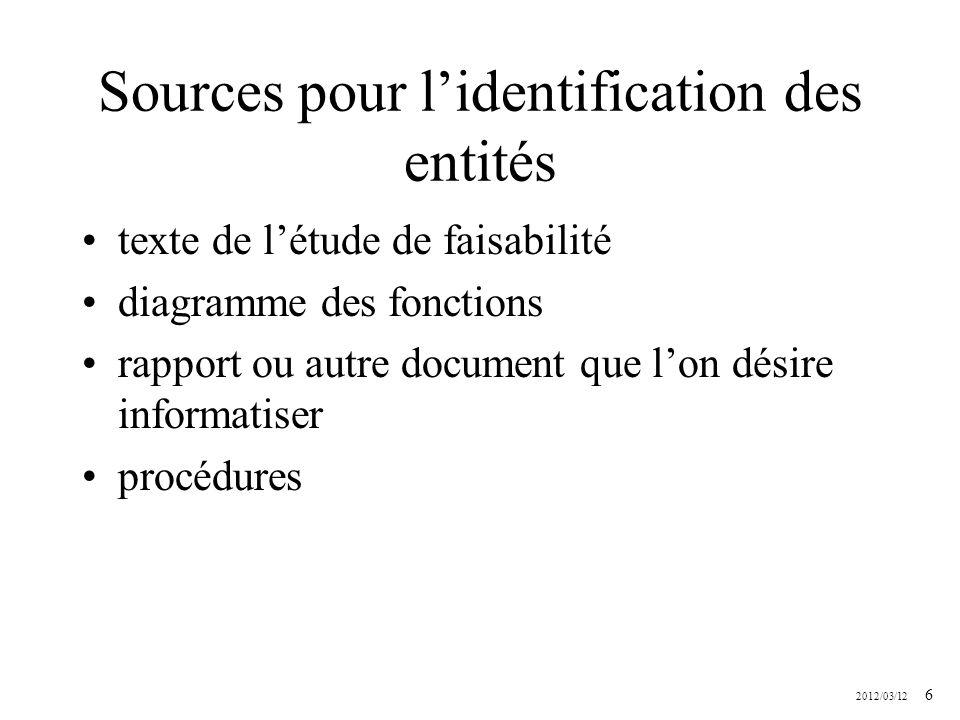2012/03/12 6 Sources pour lidentification des entités texte de létude de faisabilité diagramme des fonctions rapport ou autre document que lon désire