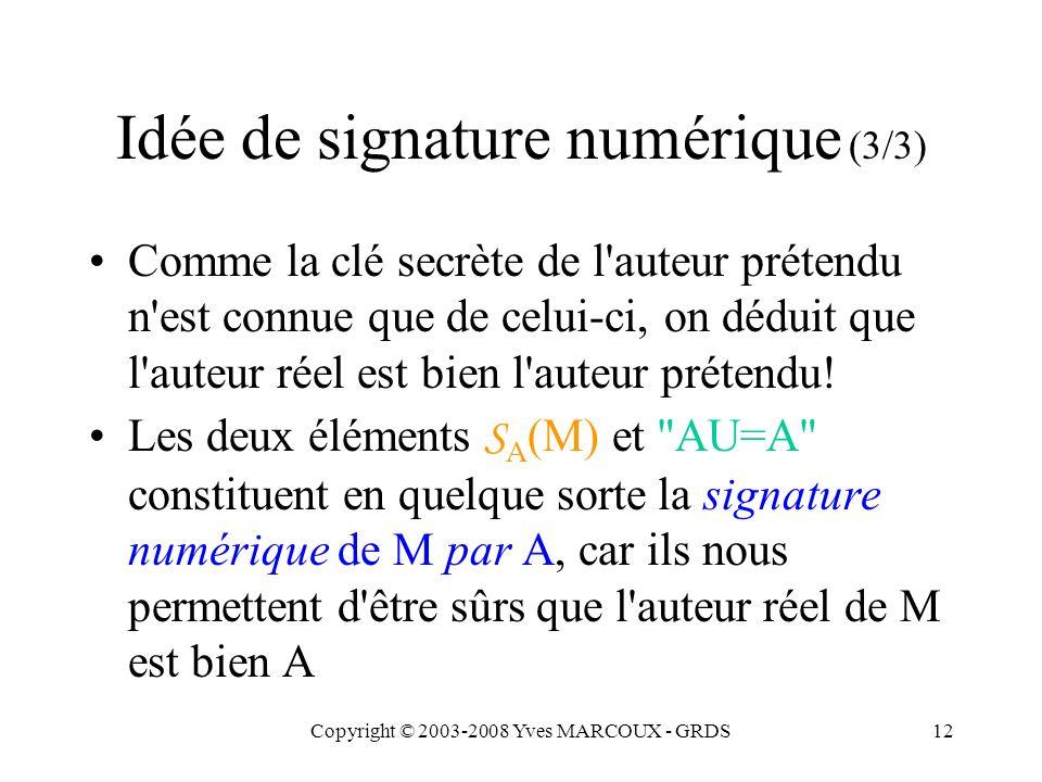 Copyright © 2003-2008 Yves MARCOUX - GRDS12 Idée de signature numérique (3/3) Comme la clé secrète de l auteur prétendu n est connue que de celui-ci, on déduit que l auteur réel est bien l auteur prétendu.