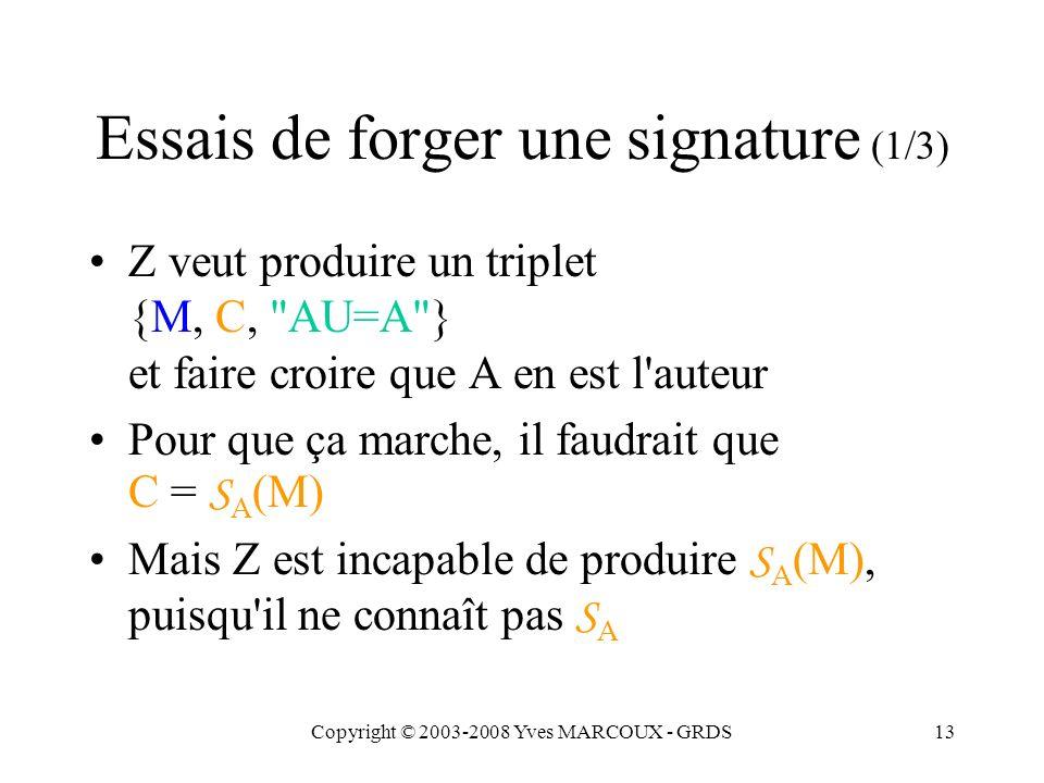 Copyright © 2003-2008 Yves MARCOUX - GRDS13 Essais de forger une signature (1/3) Z veut produire un triplet {M, C, AU=A } et faire croire que A en est l auteur Pour que ça marche, il faudrait que C = S A (M) Mais Z est incapable de produire S A (M), puisqu il ne connaît pas S A