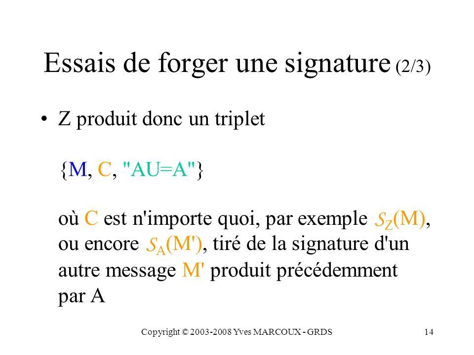 Copyright © 2003-2008 Yves MARCOUX - GRDS14 Essais de forger une signature (2/3) Z produit donc un triplet {M, C, AU=A } où C est n importe quoi, par exemple S Z (M), ou encore S A (M ), tiré de la signature d un autre message M produit précédemment par A
