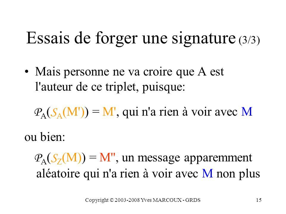 Copyright © 2003-2008 Yves MARCOUX - GRDS15 Essais de forger une signature (3/3) Mais personne ne va croire que A est l auteur de ce triplet, puisque: P A ( S A (M )) = M , qui n a rien à voir avec M ou bien: P A ( S Z (M)) = M , un message apparemment aléatoire qui n a rien à voir avec M non plus