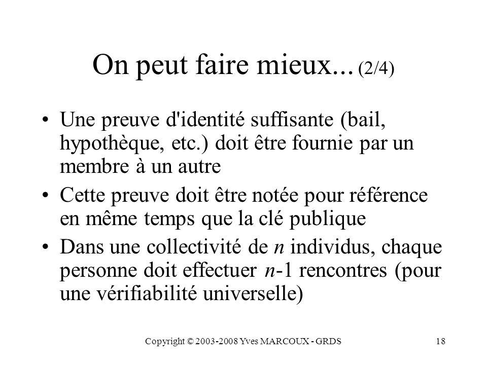 Copyright © 2003-2008 Yves MARCOUX - GRDS18 On peut faire mieux... (2/4) Une preuve d'identité suffisante (bail, hypothèque, etc.) doit être fournie p