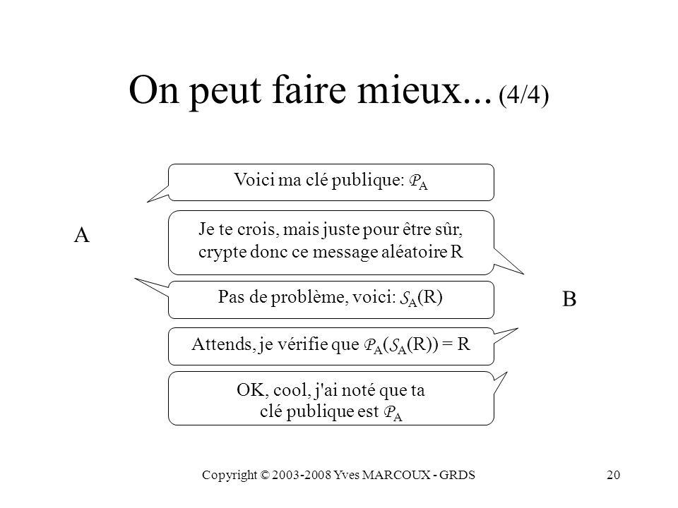 Copyright © 2003-2008 Yves MARCOUX - GRDS20 On peut faire mieux... (4/4) Voici ma clé publique: P A A Je te crois, mais juste pour être sûr, crypte do