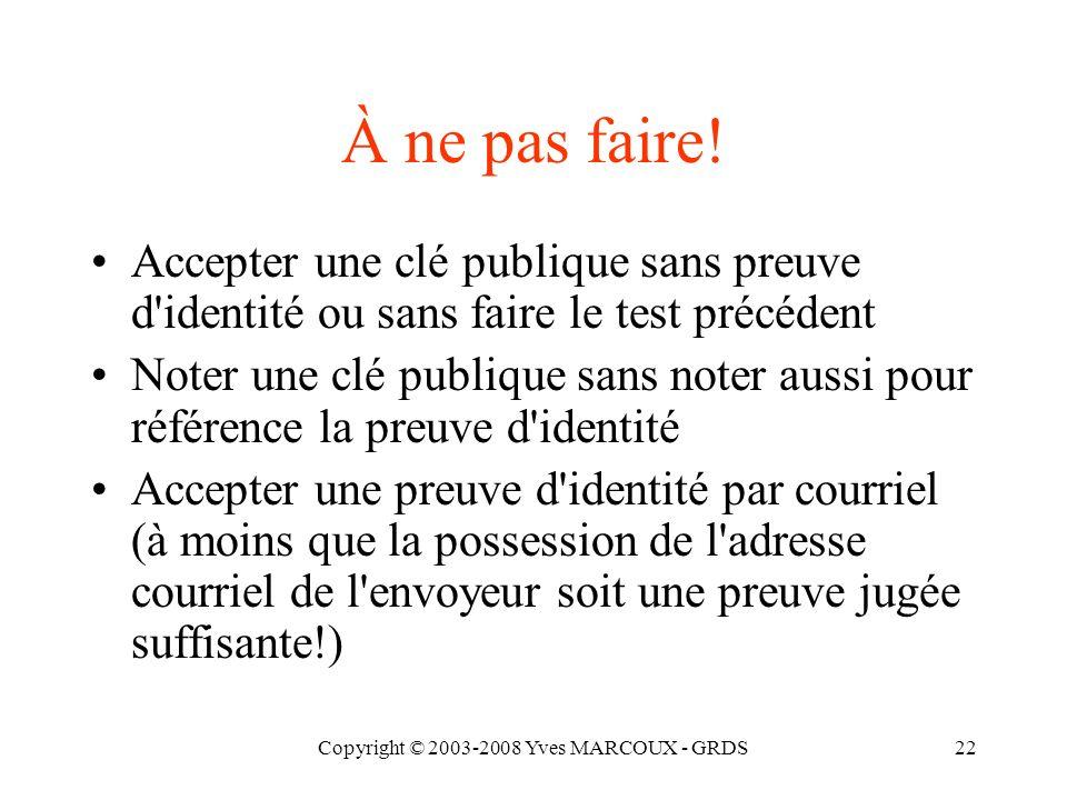 Copyright © 2003-2008 Yves MARCOUX - GRDS22 À ne pas faire.