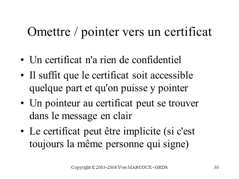 Copyright © 2003-2008 Yves MARCOUX - GRDS30 Omettre / pointer vers un certificat Un certificat n a rien de confidentiel Il suffit que le certificat soit accessible quelque part et qu on puisse y pointer Un pointeur au certificat peut se trouver dans le message en clair Le certificat peut être implicite (si c est toujours la même personne qui signe)