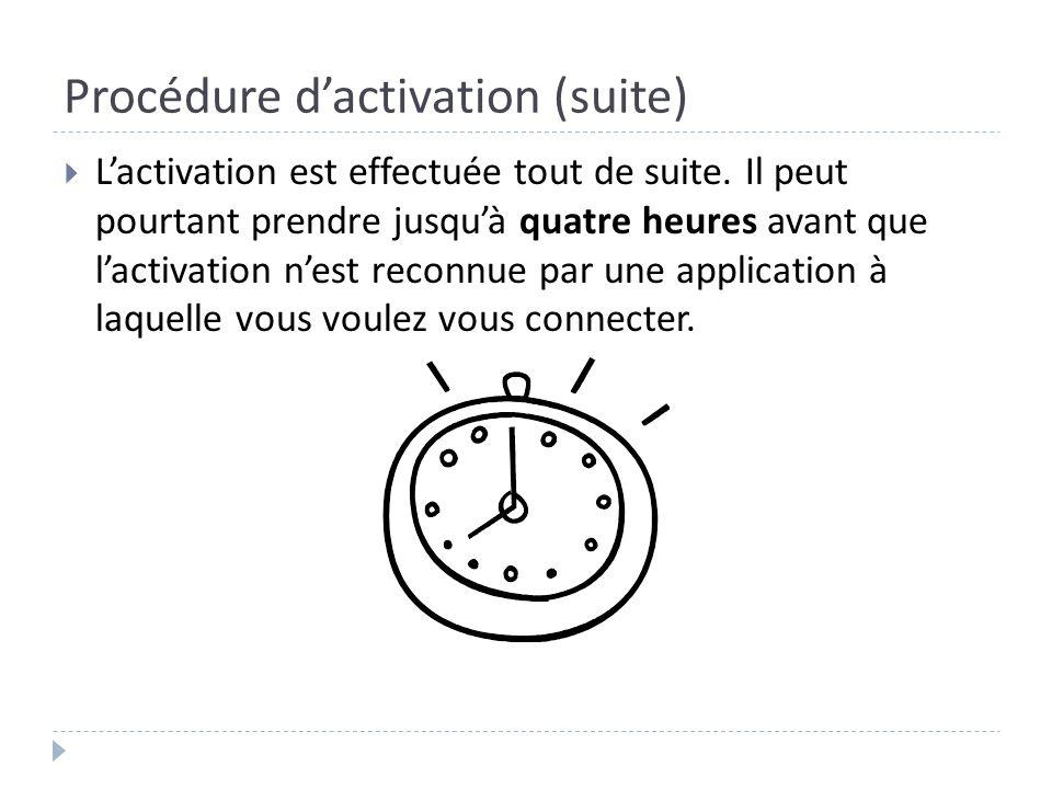 Procédure dactivation (suite) Lactivation est effectuée tout de suite. Il peut pourtant prendre jusquà quatre heures avant que lactivation nest reconn