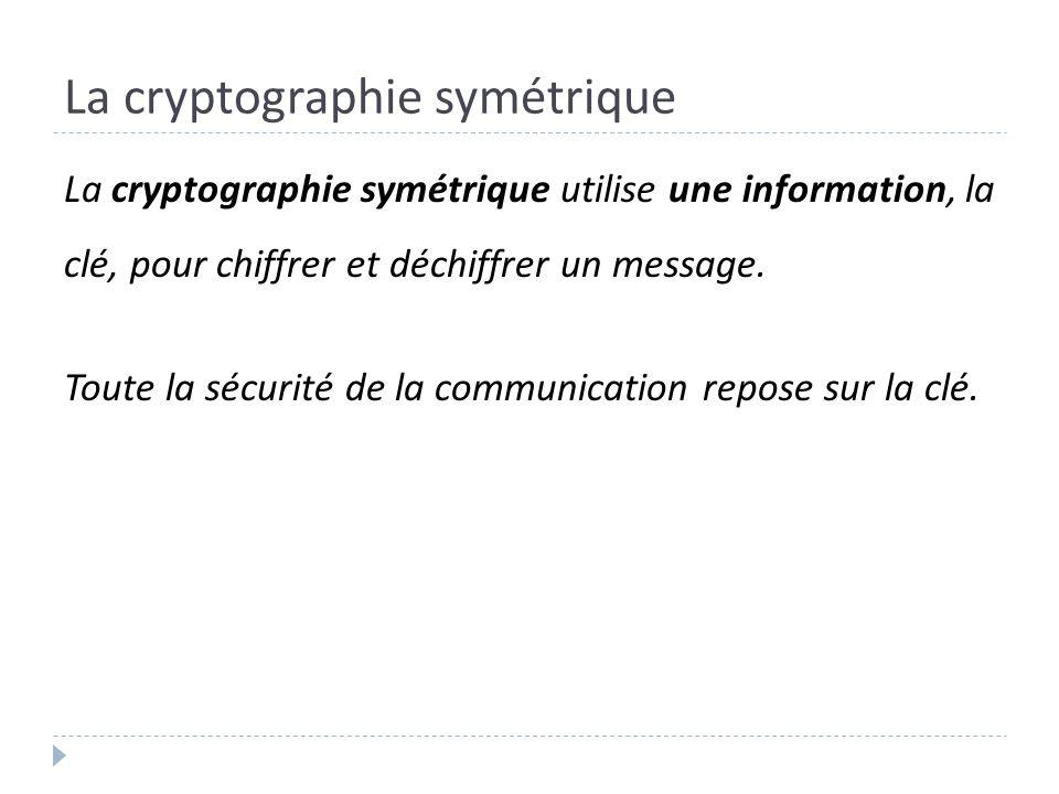 La cryptographie symétrique La cryptographie symétrique utilise une information, la clé, pour chiffrer et déchiffrer un message. Toute la sécurité de