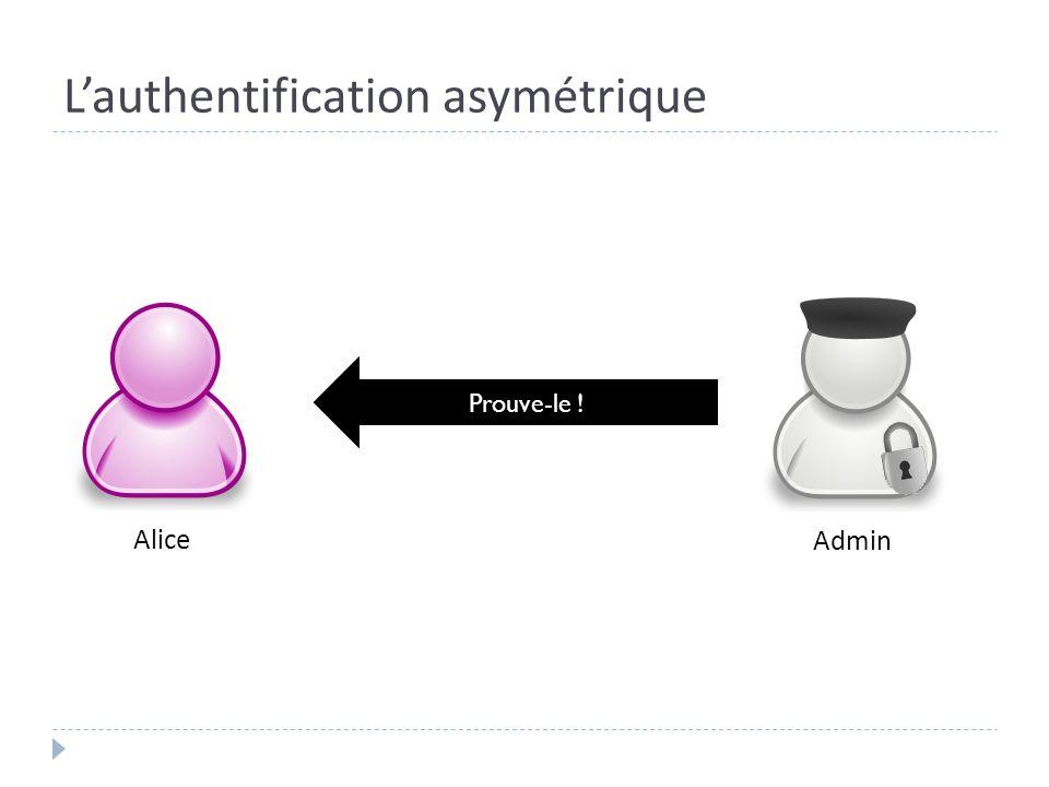 Lauthentification asymétrique Alice Admin Prouve-le !