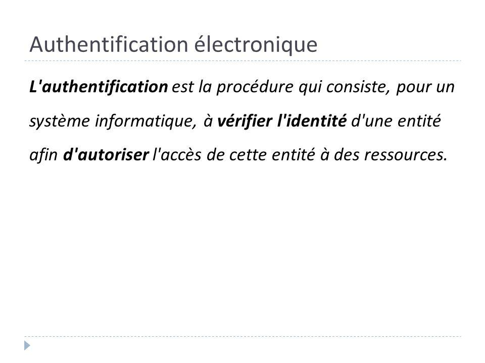 Authentification électronique L'authentification est la procédure qui consiste, pour un système informatique, à vérifier l'identité d'une entité afin