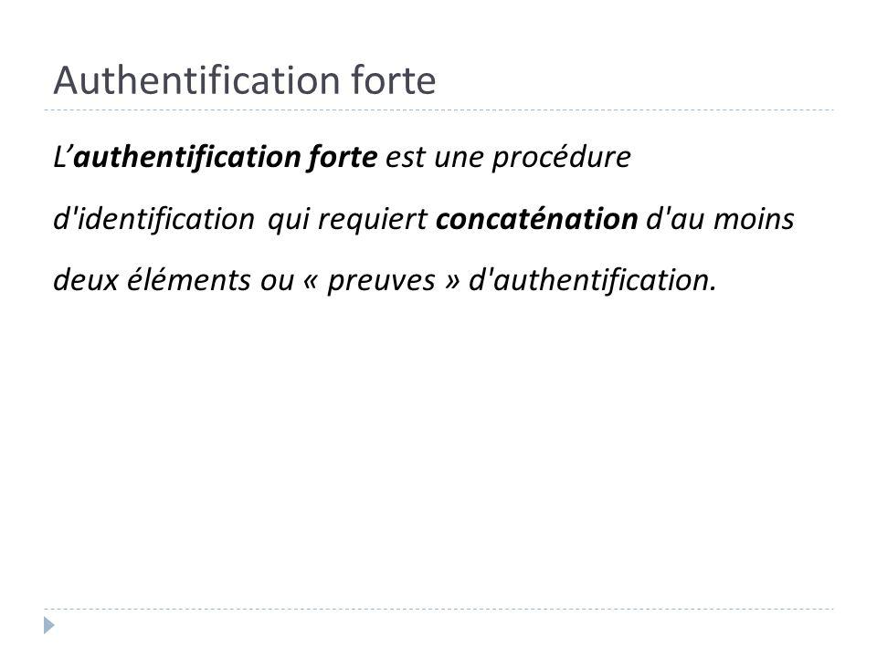 Authentification forte Lauthentification forte est une procédure d'identification qui requiert concaténation d'au moins deux éléments ou « preuves » d