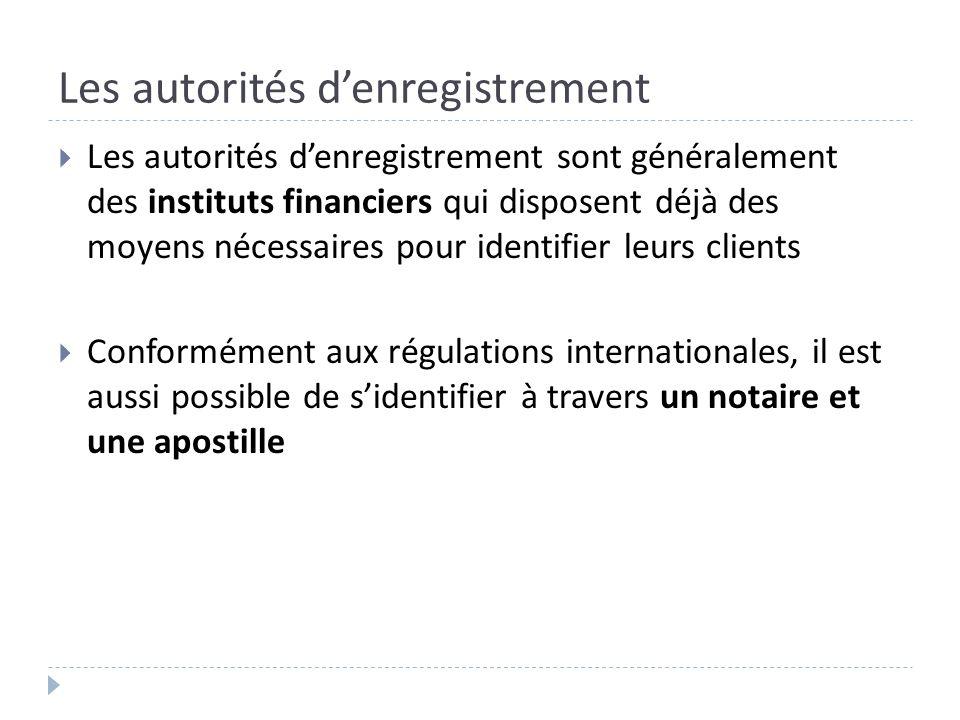 Les autorités denregistrement Les autorités denregistrement sont généralement des instituts financiers qui disposent déjà des moyens nécessaires pour