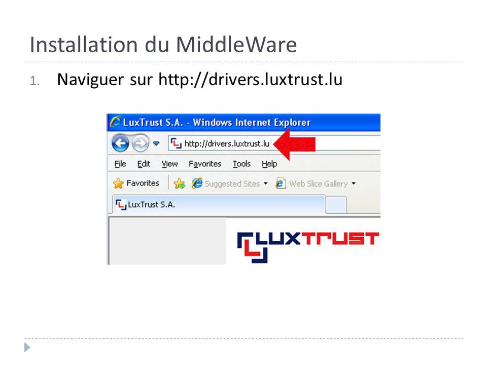 Installation du MiddleWare 1. Naviguer sur http://drivers.luxtrust.lu