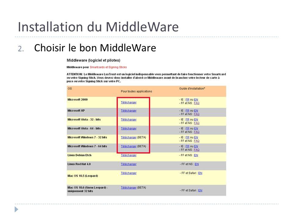 Installation du MiddleWare 2. Choisir le bon MiddleWare