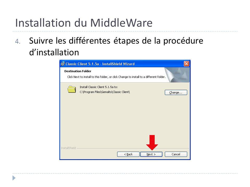 Installation du MiddleWare 4. Suivre les différentes étapes de la procédure dinstallation
