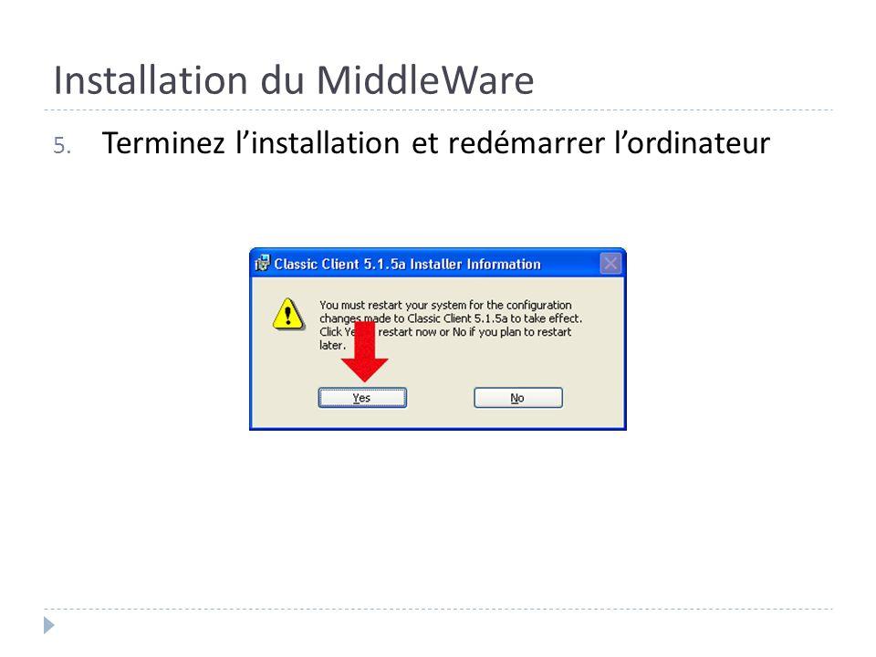Installation du MiddleWare 5. Terminez linstallation et redémarrer lordinateur