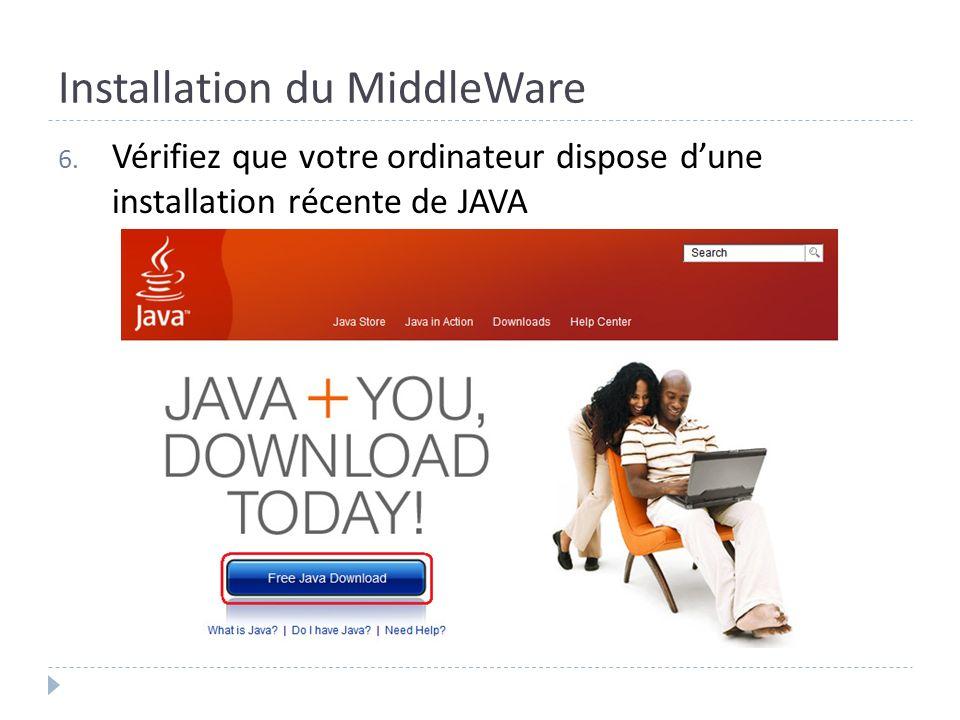 Installation du MiddleWare 6. Vérifiez que votre ordinateur dispose dune installation récente de JAVA
