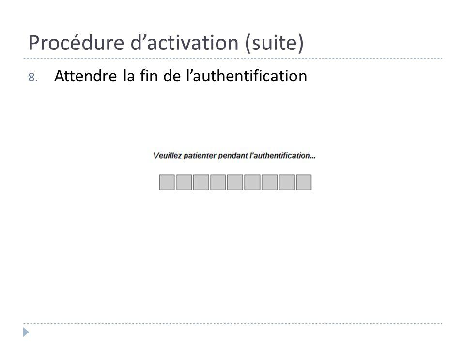 Procédure dactivation (suite) 8. Attendre la fin de lauthentification