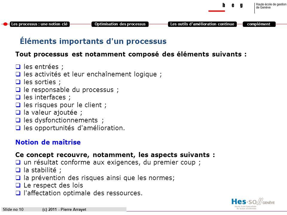 Les processus : une notion cléOptimisation des processusLes outils damélioration continuecomplément (c) 2011 - Pierre Arrayet Slide no 10 Éléments imp