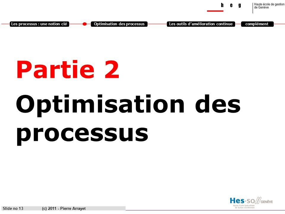 Les processus : une notion cléOptimisation des processusLes outils damélioration continuecomplément Partie 2 Optimisation des processus (c) 2011 - Pie