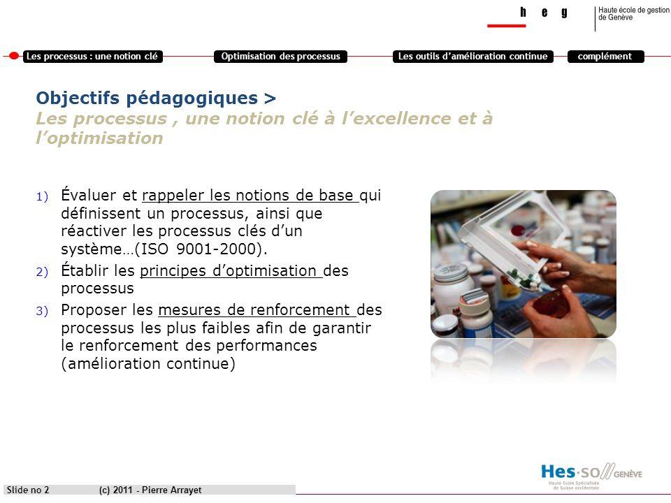 Les processus : une notion cléOptimisation des processusLes outils damélioration continuecomplément Partie 2 Optimisation des processus (c) 2011 - Pierre Arrayet Slide no 13