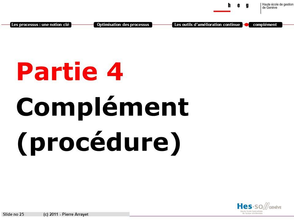 Les processus : une notion cléOptimisation des processusLes outils damélioration continuecomplément Partie 4 Complément (procédure) (c) 2011 - Pierre