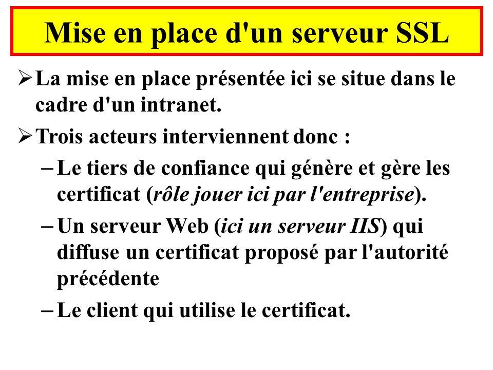 Mise en place d'un serveur SSL La mise en place présentée ici se situe dans le cadre d'un intranet. Trois acteurs interviennent donc : – Le tiers de c