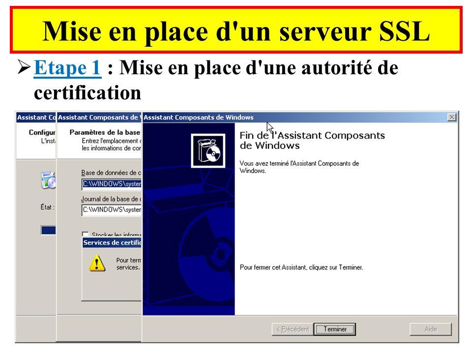 Mise en place d'un serveur SSL Etape 1 : Mise en place d'une autorité de certification