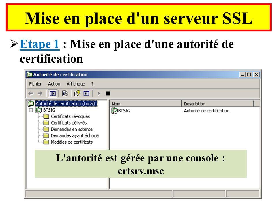 Mise en place d'un serveur SSL Etape 1 : Mise en place d'une autorité de certification L'autorité est gérée par une console : crtsrv.msc