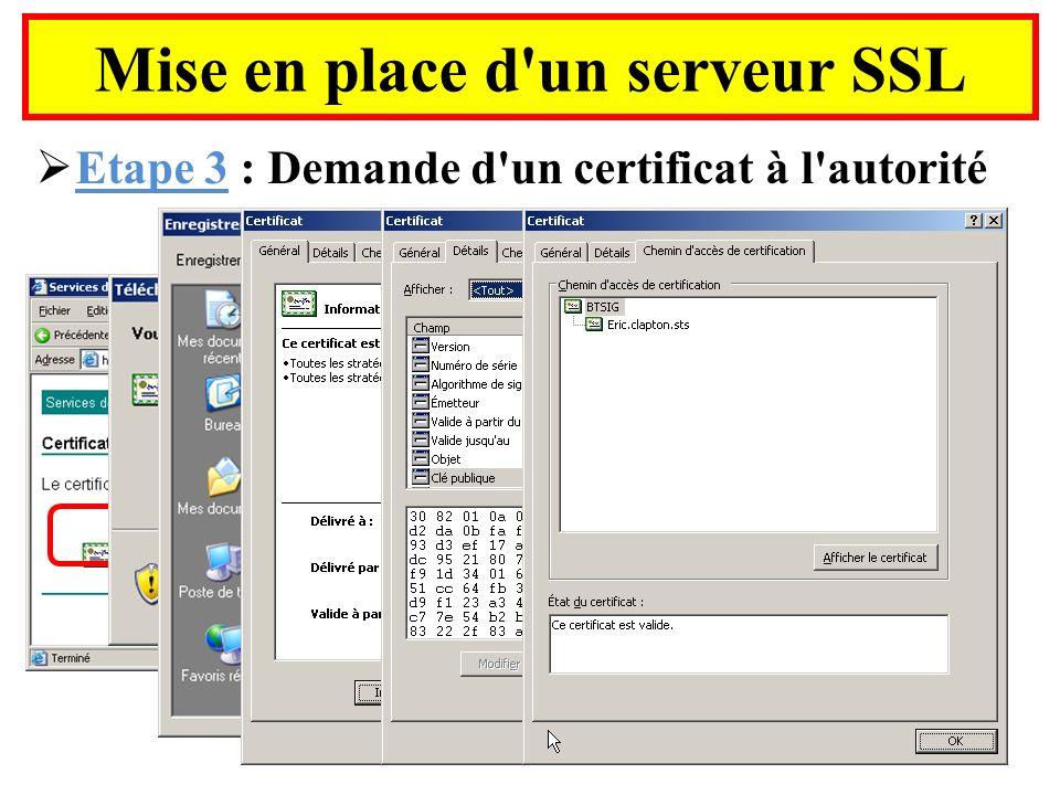 Mise en place d'un serveur SSL Etape 3 : Demande d'un certificat à l'autorité