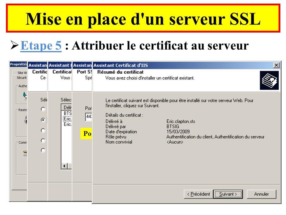 Mise en place d'un serveur SSL Etape 5 : Attribuer le certificat au serveur Port SSL normalisé