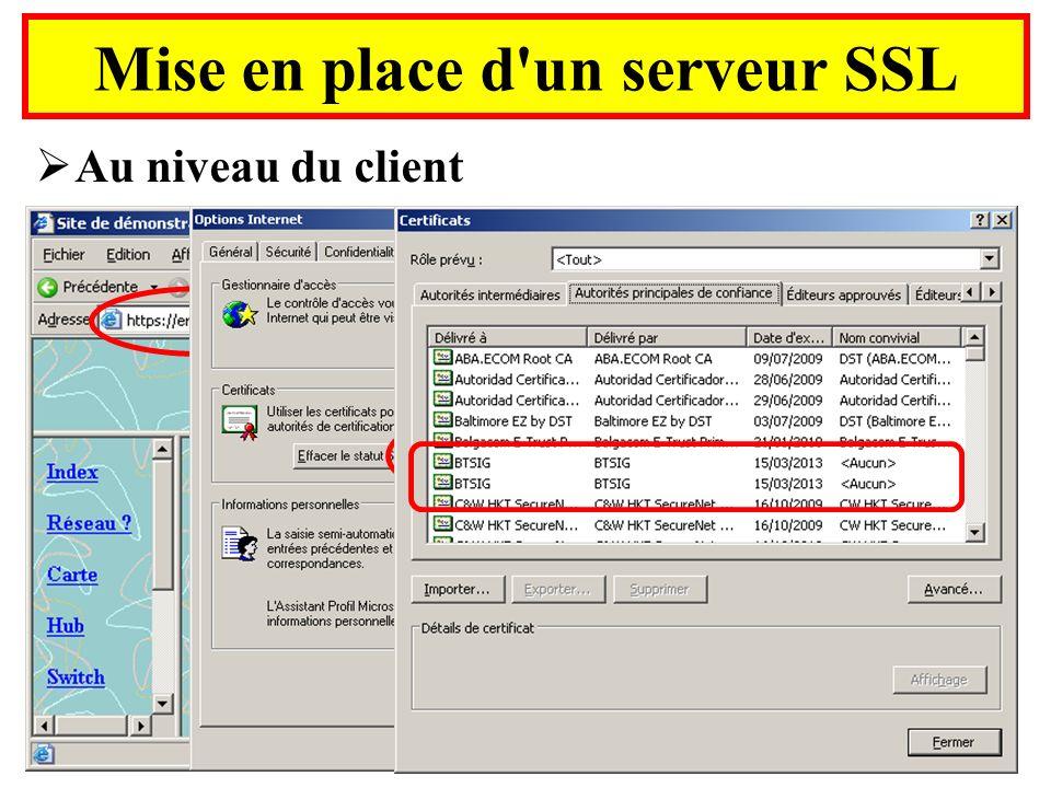 Mise en place d'un serveur SSL Au niveau du client