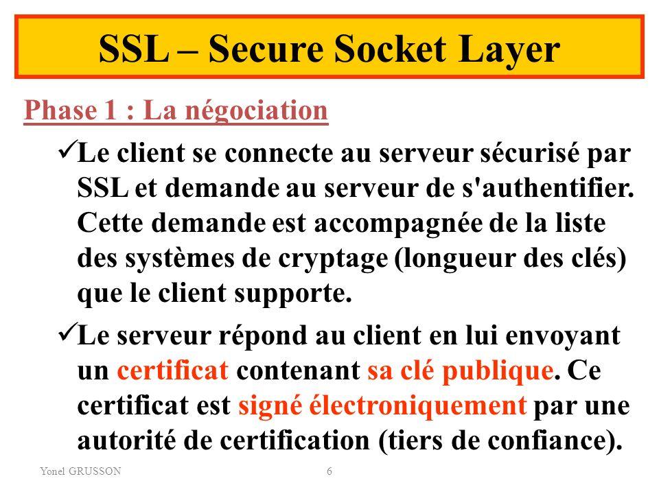Yonel GRUSSON6 SSL – Secure Socket Layer Phase 1 : La négociation Le client se connecte au serveur sécurisé par SSL et demande au serveur de s'authent