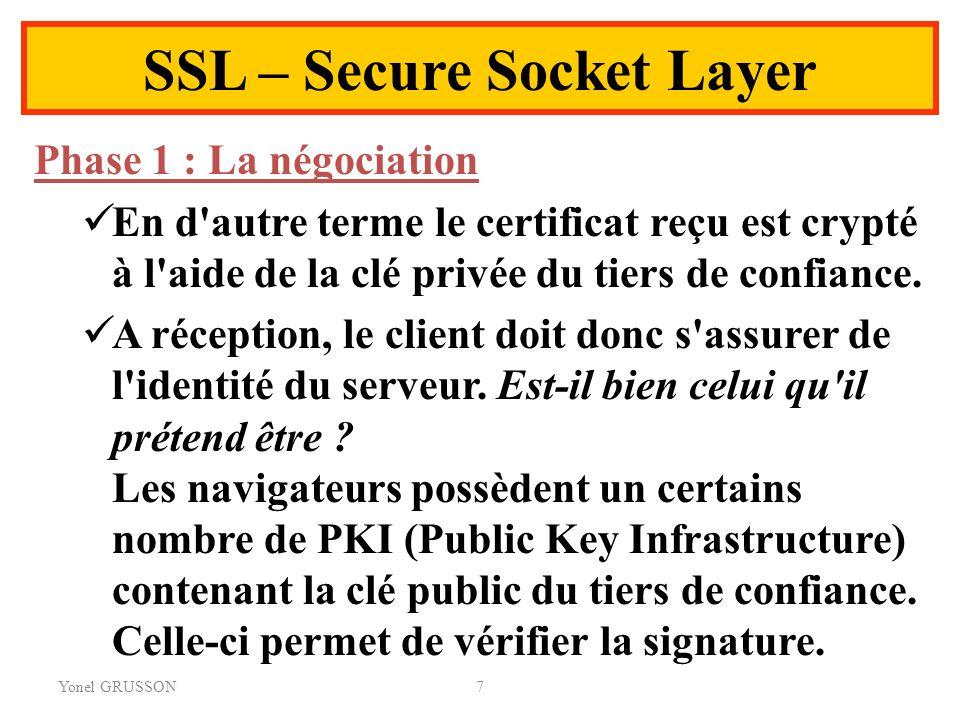 Yonel GRUSSON7 SSL – Secure Socket Layer Phase 1 : La négociation En d'autre terme le certificat reçu est crypté à l'aide de la clé privée du tiers de