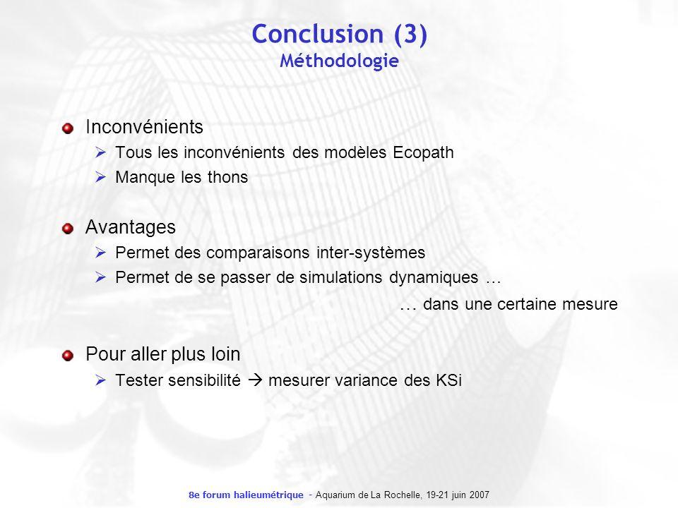 8e forum halieumétrique - Aquarium de La Rochelle, 19-21 juin 2007 Conclusion (3) Méthodologie Inconvénients Tous les inconvénients des modèles Ecopat