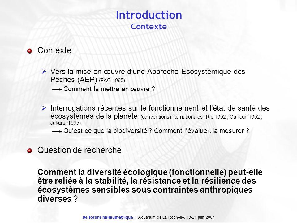 8e forum halieumétrique - Aquarium de La Rochelle, 19-21 juin 2007 Introduction Contexte Contexte Vers la mise en œuvre dune Approche Écosystémique de