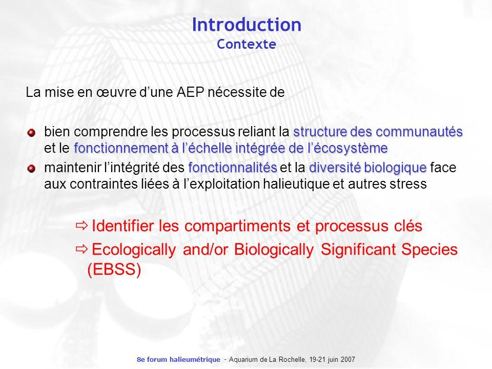 8e forum halieumétrique - Aquarium de La Rochelle, 19-21 juin 2007 Introduction Contexte La mise en œuvre dune AEP nécessite de structure des communau