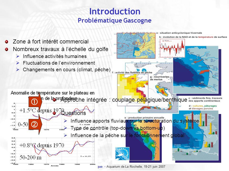 8e forum halieumétrique - Aquarium de La Rochelle, 19-21 juin 2007 Méthode Espèces clés vs espèces structurantes Espèces clé : Impact total important Biomasse relative faible Impact total Impact total proportionnel à la biomasse Biomasse relative Espèces clés Espècesdominantes Seuil dimpact daprès Power et al., 1996 Espèces dominantes : Biomasse élevée Structurent lécosystème (processus, flux dénergie…) Une espèce clé est une espèce dont limpact sur lécosystème est important et disproportionné par rapport à son abondance (Power et al., 1996)