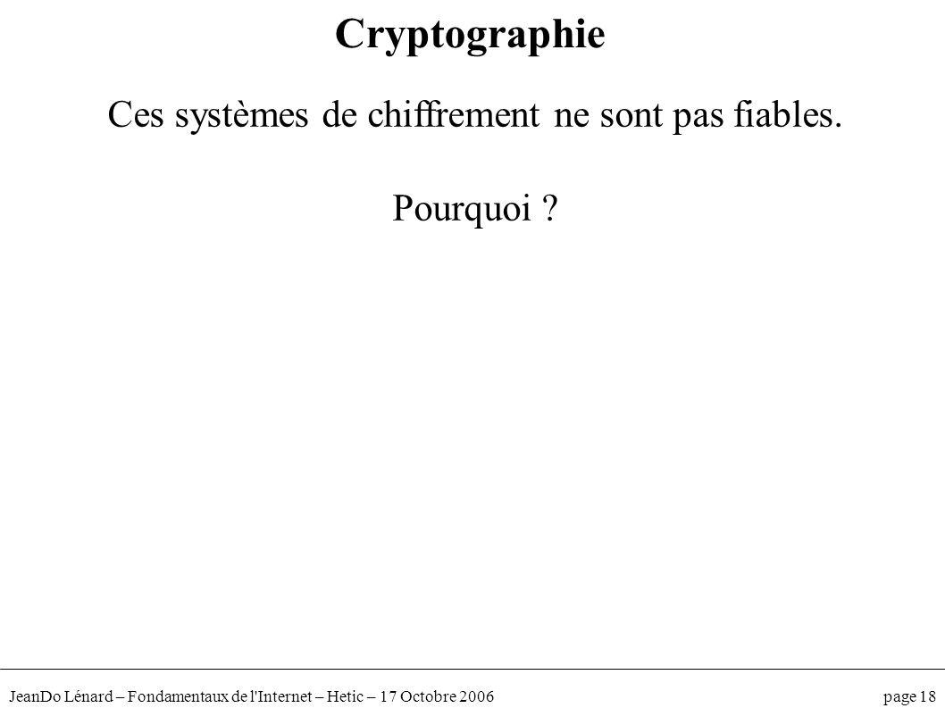 JeanDo Lénard – Fondamentaux de l'Internet – Hetic – 17 Octobre 2006 page 18 Ces systèmes de chiffrement ne sont pas fiables. Pourquoi ? Cryptographie