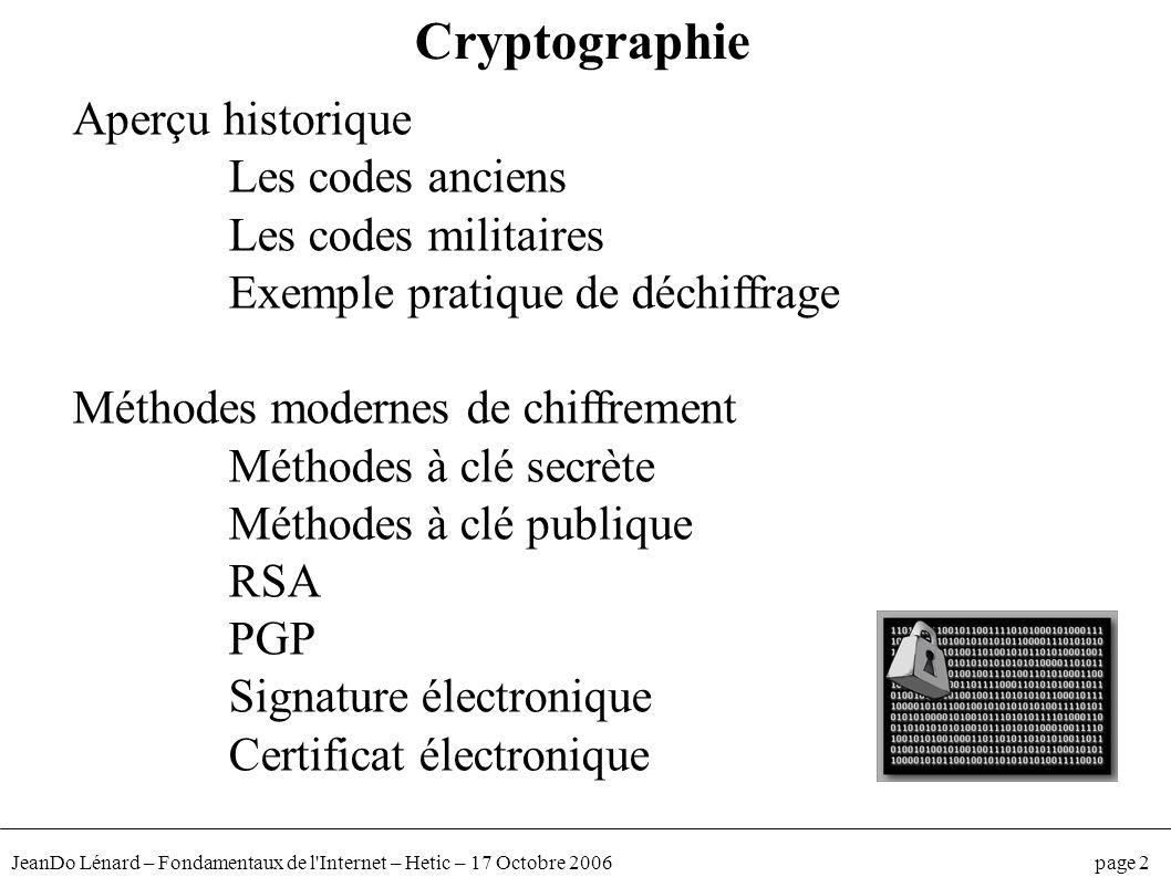 JeanDo Lénard – Fondamentaux de l'Internet – Hetic – 17 Octobre 2006 page 2 Cryptographie Aperçu historique Les codes anciens Les codes militaires Exe
