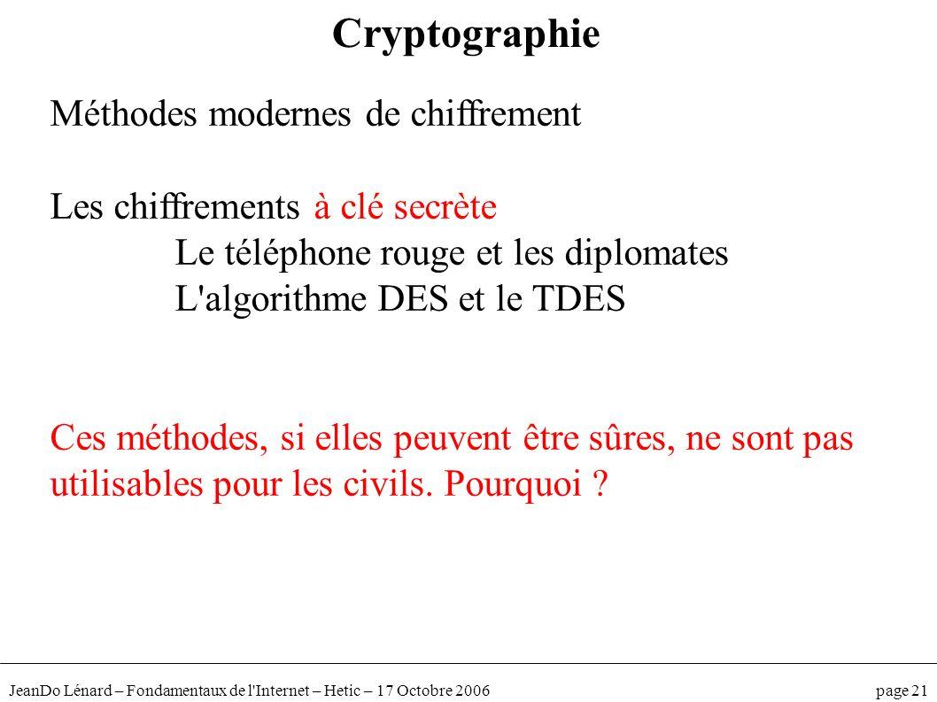 JeanDo Lénard – Fondamentaux de l'Internet – Hetic – 17 Octobre 2006 page 21 Méthodes modernes de chiffrement Les chiffrements à clé secrète Le téléph