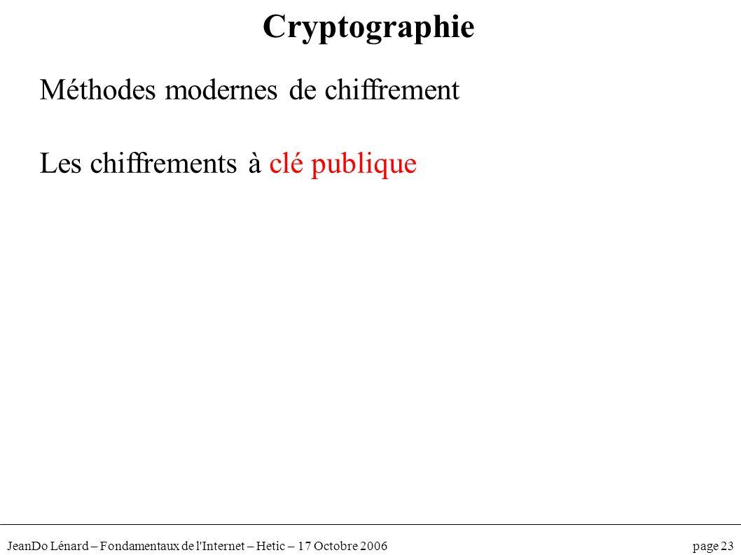 JeanDo Lénard – Fondamentaux de l'Internet – Hetic – 17 Octobre 2006 page 23 Méthodes modernes de chiffrement Les chiffrements à clé publique Cryptogr