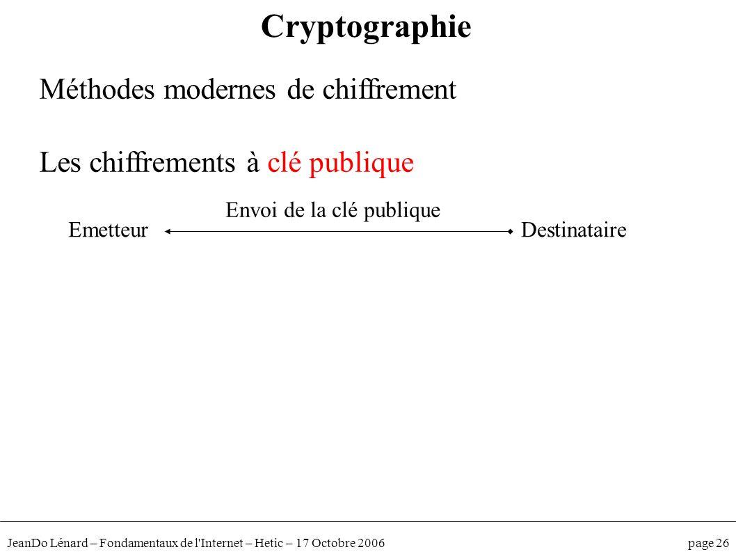 JeanDo Lénard – Fondamentaux de l'Internet – Hetic – 17 Octobre 2006 page 26 Méthodes modernes de chiffrement Les chiffrements à clé publique Cryptogr