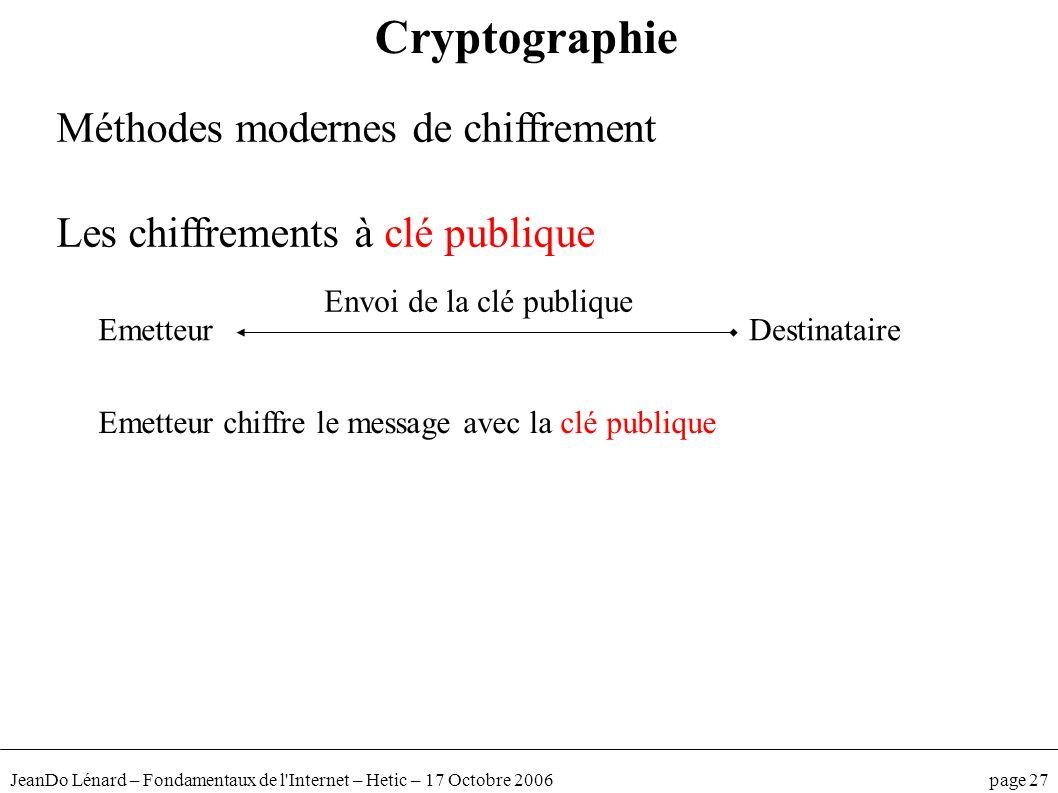 JeanDo Lénard – Fondamentaux de l'Internet – Hetic – 17 Octobre 2006 page 27 Méthodes modernes de chiffrement Les chiffrements à clé publique Cryptogr