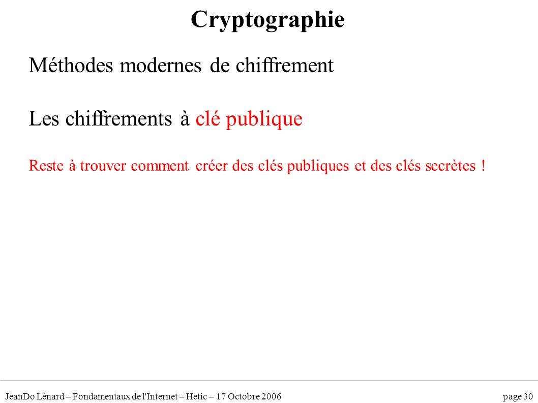 JeanDo Lénard – Fondamentaux de l'Internet – Hetic – 17 Octobre 2006 page 30 Méthodes modernes de chiffrement Les chiffrements à clé publique Reste à