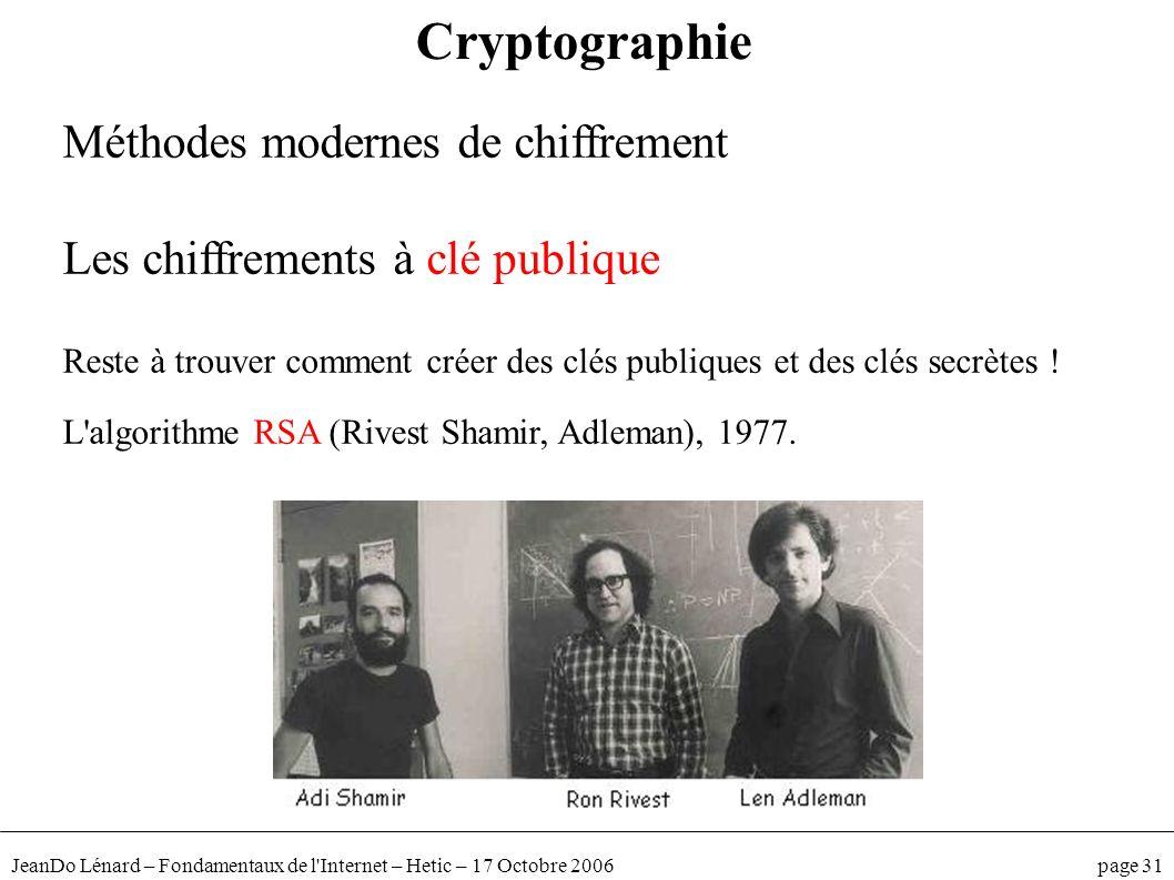 JeanDo Lénard – Fondamentaux de l'Internet – Hetic – 17 Octobre 2006 page 31 Méthodes modernes de chiffrement Les chiffrements à clé publique Reste à