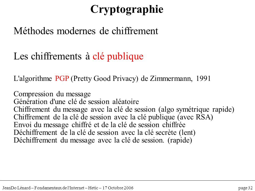 JeanDo Lénard – Fondamentaux de l'Internet – Hetic – 17 Octobre 2006 page 32 Méthodes modernes de chiffrement Les chiffrements à clé publique L'algori