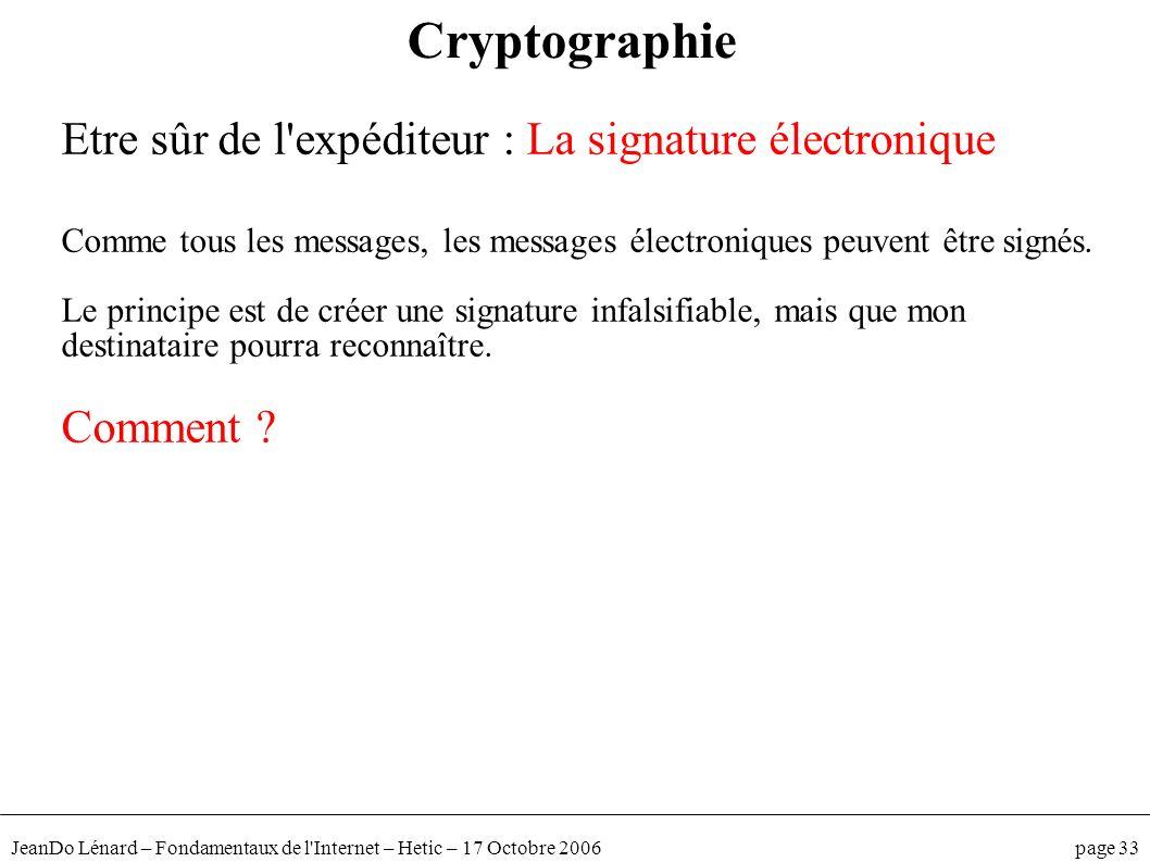 JeanDo Lénard – Fondamentaux de l'Internet – Hetic – 17 Octobre 2006 page 33 Etre sûr de l'expéditeur : La signature électronique Comme tous les messa