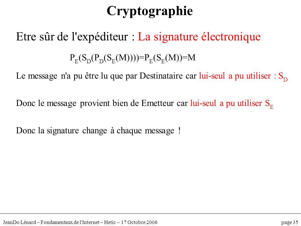 JeanDo Lénard – Fondamentaux de l'Internet – Hetic – 17 Octobre 2006 page 35 Cryptographie Etre sûr de l'expéditeur : La signature électronique P E (S
